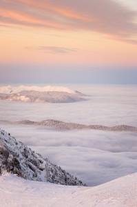 Aurore et mer de nuages en Vercors